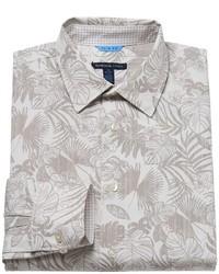 Beige Floral Dress Shirt