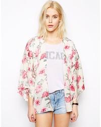Beige Floral Kimono