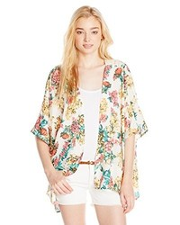 Angie Juniors Floral Kimono With Crochet Back