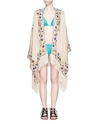 Talitha Moroccan Tara Floral Embroidery Silk Crepe Cover Up