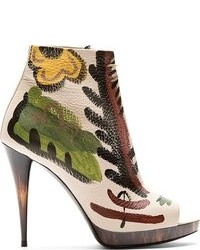 Beige Floral Leather Ankle Boots