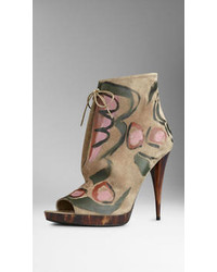 Burberry Hand Painted Suede Ankle Boots