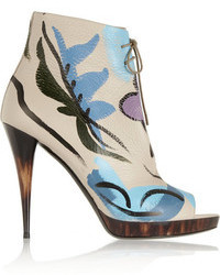 Burberry Prorsum Painted Textured Leather Ankle Boots