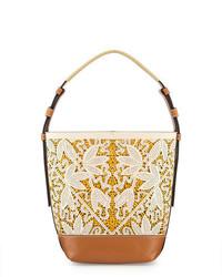 Floral laser cut bucket tote bag parcht floral medium 649706