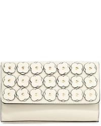 Neiman Marcus Floral Appliqu Box Clutch Bag Bone