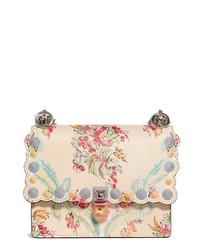 Beige Floral Leather Crossbody Bag
