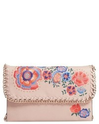 Topshop Chester Floral Faux Leather Crossbody Bag Beige
