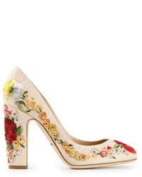 Beige Floral Leather Pumps