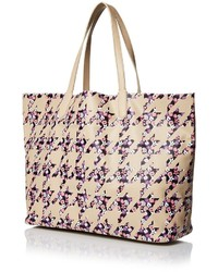 8524c944fe ... Yarnz Floral Houndstooth Leather Tote Bagcamel