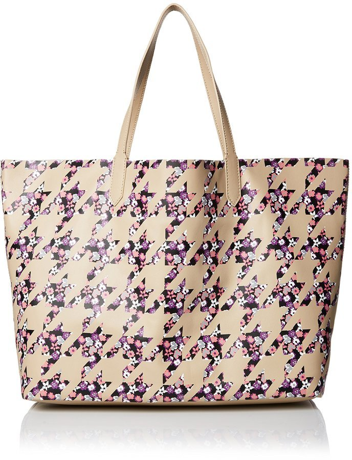 e4c1fba04e ... Yarnz Floral Houndstooth Leather Tote Bagcamel ...