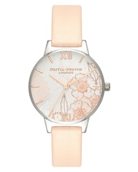 Olivia Burton Abstract Floral Leather Watch