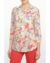 Floral collage print 34 sleeve blouse medium 321677