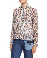 Floral georgette tie neck blouse petale medium 321678