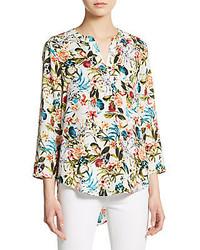 Floral print roll tab sleeve blouse medium 321697