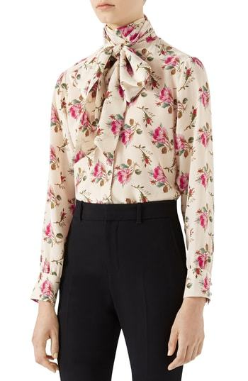 9b3bf0725d1d2 Rose Print Silk Tie Neck Blouse. Beige Floral Long Sleeve Blouse by Gucci