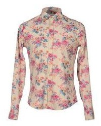 Beige Floral Long Sleeve Shirt