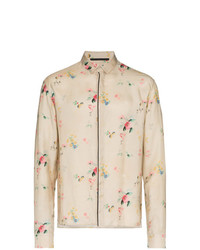 Haider Ackermann Floral Print Satin Long Sleeve Shirt