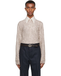 Gucci Taupe Lace Shirt