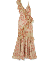 Johanna Ortiz Belle Of The Ball Ruffled Floral Print Silk Organza Dress
