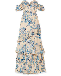 Johanna Ortiz Drapes Of Solitude Off The Shoulder Cutout Floral Print Silk Maxi Dress