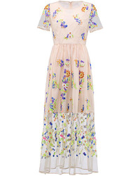 Embroidery floral mesh maxi dress in beige medium 96396