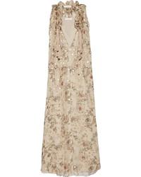 Chloé Floral Print Fil Coup Silk Blend Georgette Maxi Dress Beige