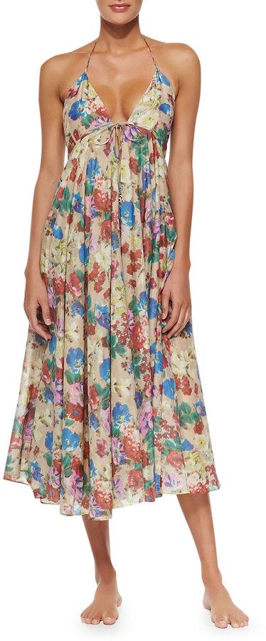 Zimmermann Haze Fl Print Tie Front Maxi Dress