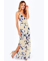 Lush At Long Last Beige Floral Print Maxi Dress