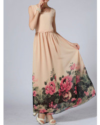 Choies Pink Maxi Dress With Floral Printed Hem