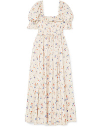 DÔEN Sol Shirred Floral Print Swiss Dot Cotton Voile Maxi Dress