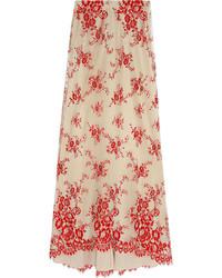 Beige Floral Maxi Skirt