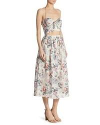 Beige Floral Midi Dress