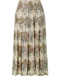 Gucci Crystal Embellished Pleated Printed Silk Twill Skirt