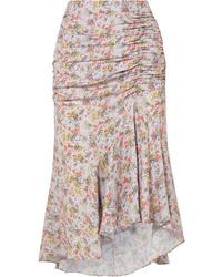 Alice + Olivia Freida Asymmetric Ruched Floral Print Crepe Midi Skirt
