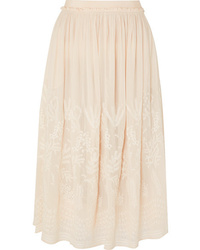 Vanessa Bruno Lise Embroidered Voile Midi Skirt