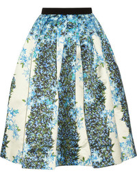 Sidewalk floral print silk gazar midi skirt medium 175777