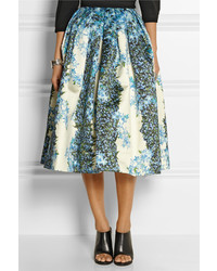 Tibi Sidewalk Floral Print Silk Gazar Midi Skirt | Where to buy ...