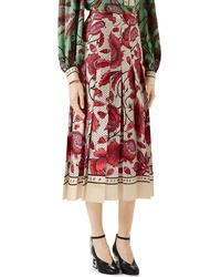 Gucci Watercolor Floral Print Pleated Silk Twill Midi Skirt
