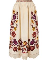Ulla Johnson Yana Embroidered Linen And Cotton Blend Midi Skirt