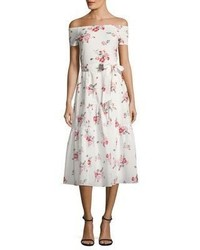 Rebecca Taylor Marguerite Floral Print Off The Shoulder Dress