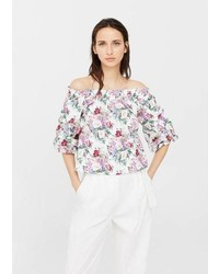 Mango Floral Off Shoulder Blouse