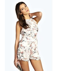 Boohoo Iris Chiffon Floral Print Strappy Back Playsuit