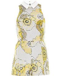 River Island Yellow Metallic Floral Print Romper