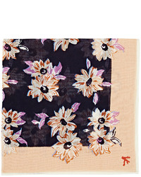 Isaia Floral Print Cotton Silk Pocket Square