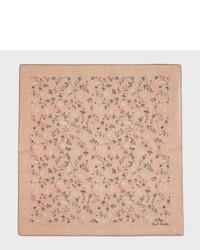 Paul Smith Taupe Vine Floral Cotton Silk Pocket Square