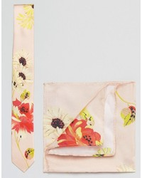 Asos Wedding Floral Tie And Pocket Square Pack In Silk