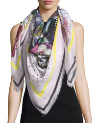 Givenchy Square Floral Bouquet Star Print Cashmere Scarf Cream