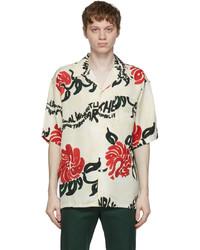 Marni Off White Floral Print Short Sleeve Shirt