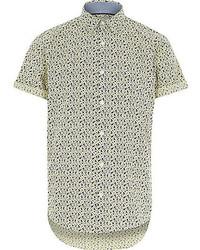 Yellow floral short sleeve shirt medium 277042