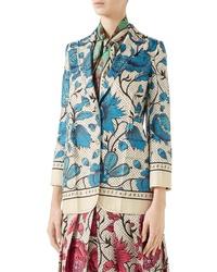 Gucci Watercolor Floral Print Silk Jacket